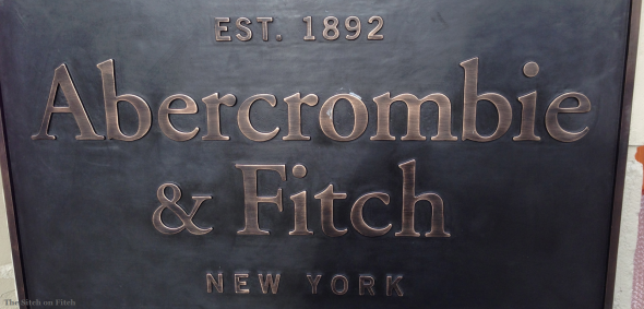 Abercrombie & Fitch name plaque at the entrance of A&F Amsterdam Leidsestraat 34 - photo by Ramon for The Sitch on Fitch